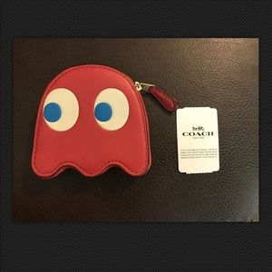 Coach XPacMan Washed Red Ghost Coin Holder Wallet